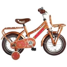 Barncykel Volare Lovely Stars 12 tum - Stödhjul, dubbla pakethållare (Guld)